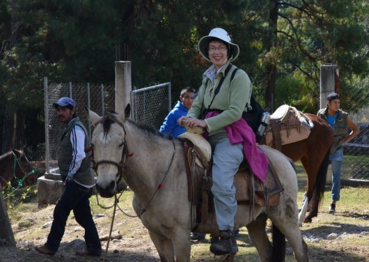 Jean on horseback at Cerro Pelon Butterfly Sanctuary in Mexico