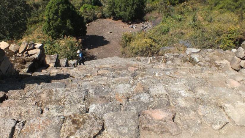 stone stairs of main pyramid of san felipe de los alzati, zitacuaro, mexico 5