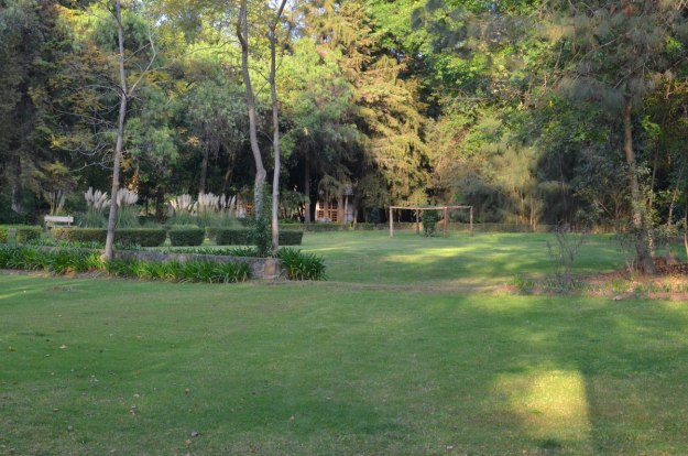 lawn and forest at hotel rancho san cayetano, zitacuaro, mexico