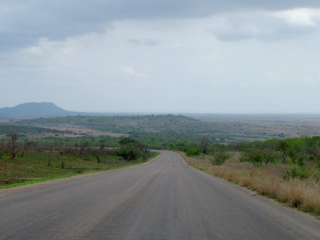 driving across kruger national park, south africa