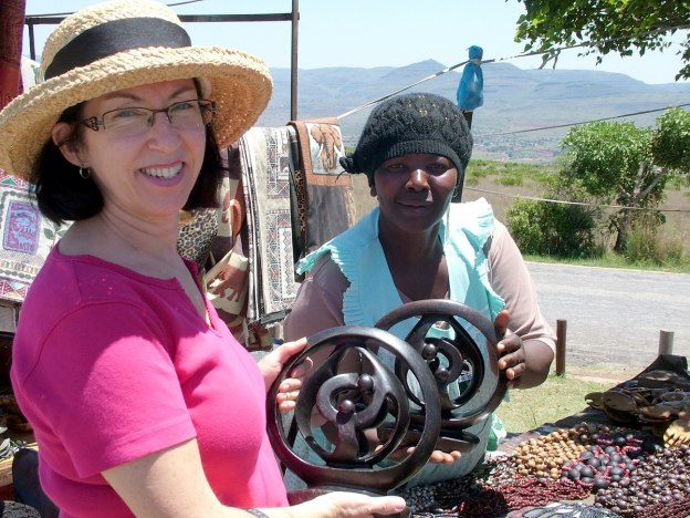 Jean at craft market at the top of the Blyde River Canyon, South Africa