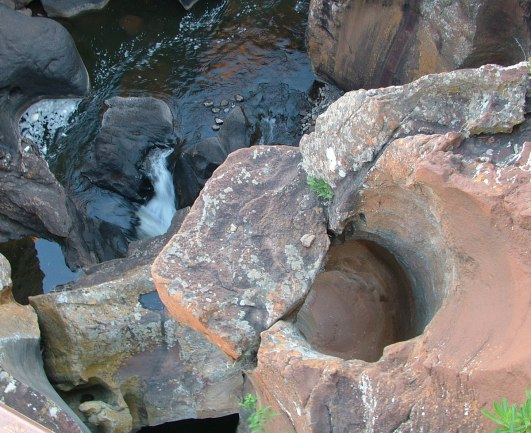 Giant kettles at Bourkes Luck Potholes in South Africa