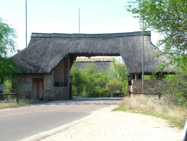 Entrance gate to Skukuza Rest Camp at Kruger National Park, South Africa