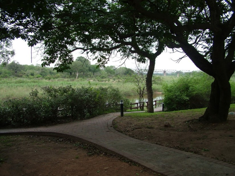 Walkway along Sabie River at Skukuza Rest Camp in Kruger National Park, in South Africa