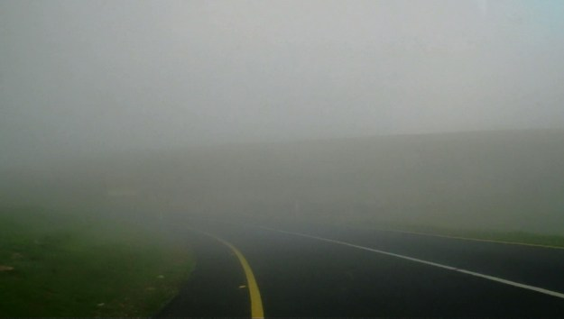 Fog over roadway near Sabie, South Africa