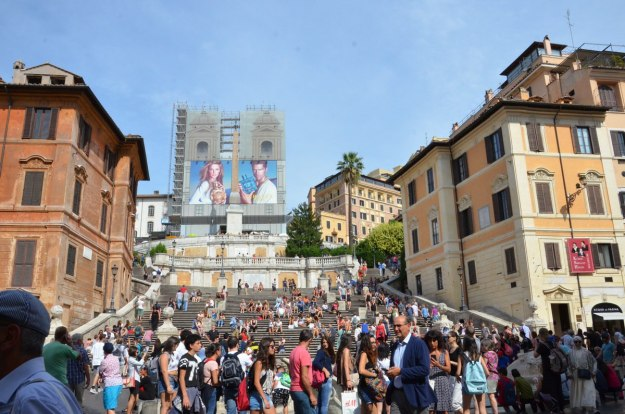 People on the Spanish Steps in Rome, Italy