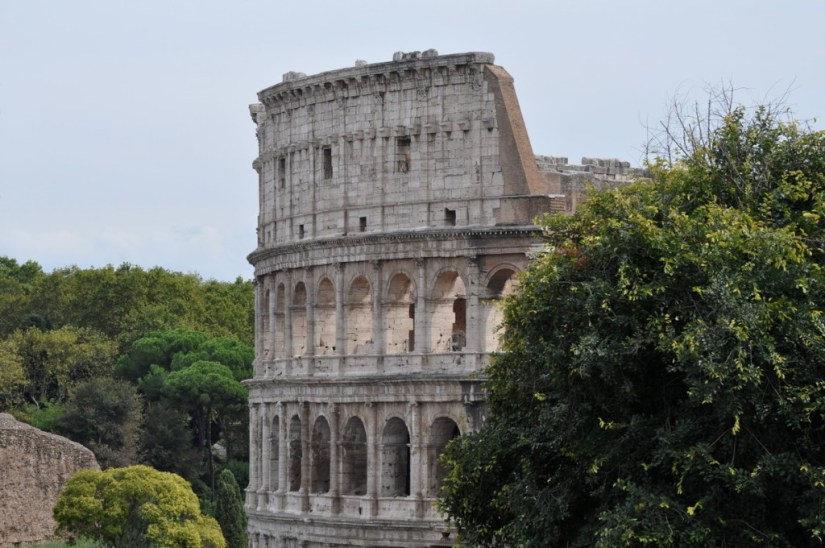 Exterior of the Roman Colosseum in Rome, Italy