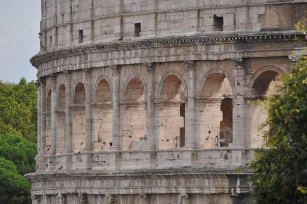 The outer walls of the Colosseum in Rome, Italy