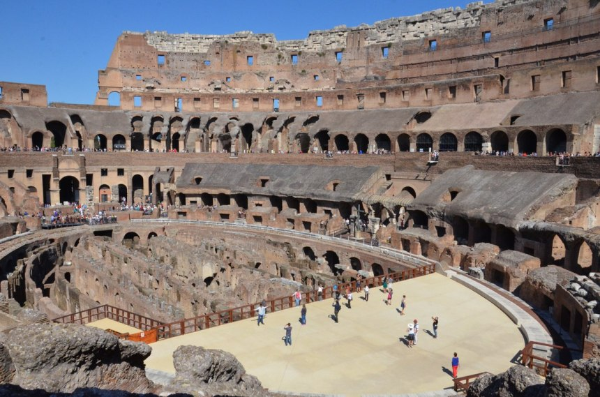 An image of the Flavian Amphitheatre and walls inside the Colosseum in Rome, Italy. Photography by Frame To Frame - Bob and Jean.