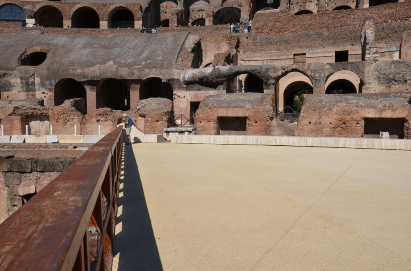 An image of the restored wooden floor of the Roman Colosseum in Rome, Italy. Photography by Frame To Frame - Bob and Jean.
