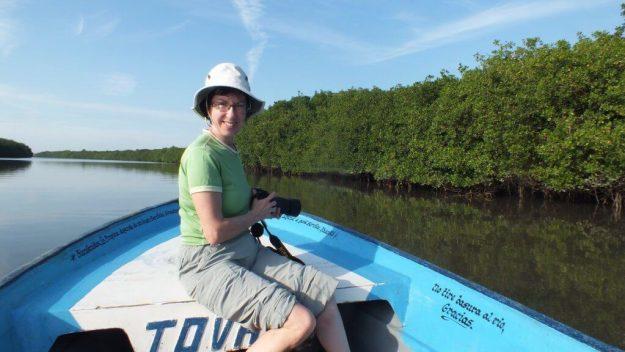 Photo of Jean aboard a boat on the San Cristobal River near San Blas, Mexico