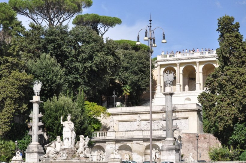 Rome Between the Tiber and the Aniane fountain below Pincio Terrace in Rome, Italy