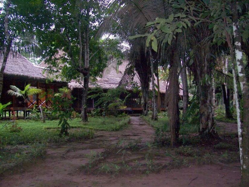 Main building at Sandoval Lake Lodge, Lake Sandoval, Amazon Basin, Peru
