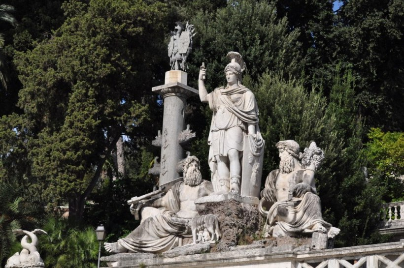 Rome Between the Tiber and the Aniane fountain in Piazza del Popola, in Rome, Italy