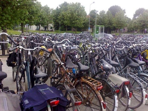 bike parking lot in amsterdam, the netherlands