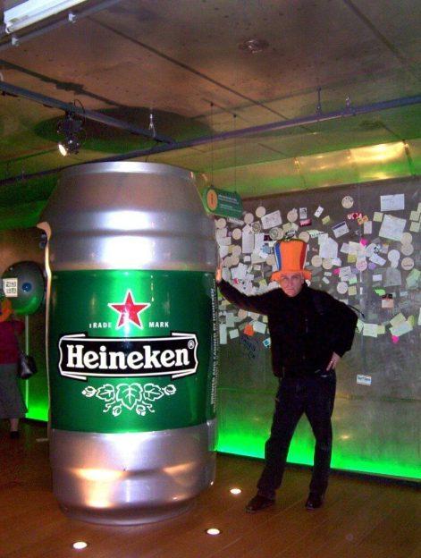 bob beside massive heineken beer can, amsterdam