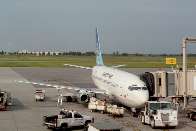 photograph of a First Air Jet aircraft at the Ottawa Airport, Ottawa, Ontario, Canada.