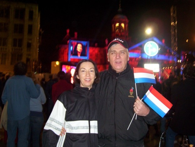 jean and bob in amsterdam during queens day