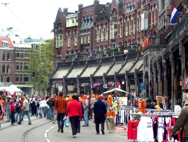 queens day in amsterdam, the netherlands