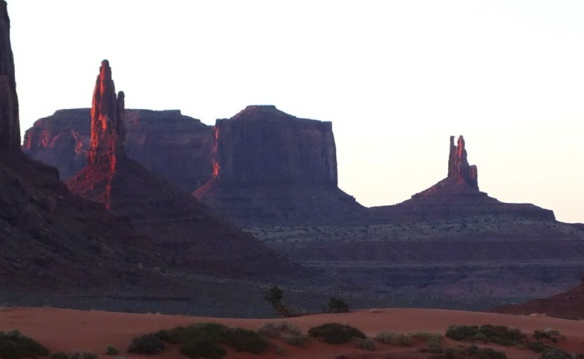 Big Indian, Brigham's Tomb, The King on His Throne Buttes in Monument Valley in Arizona, USA