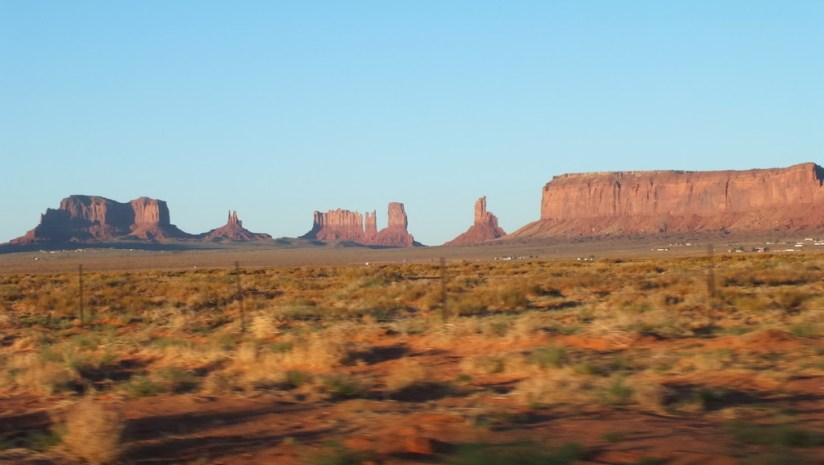 view of Monument Valley from highway in Arizona, USA 2