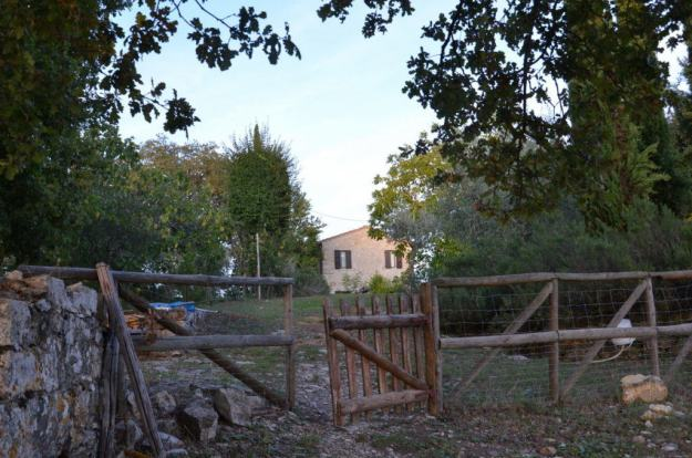 Wooden gate near cottage garden at Il Colombaio di Cencio, Gaiole, Chianti, Tuscany, Italy