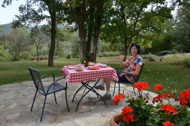 jean at lunch at il colombaio di cencio vineyard, gaiole in chianti, itay