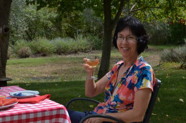 jean with wine at lunch at il colombaio di cencio vineyard, gaiole in chianti, itay