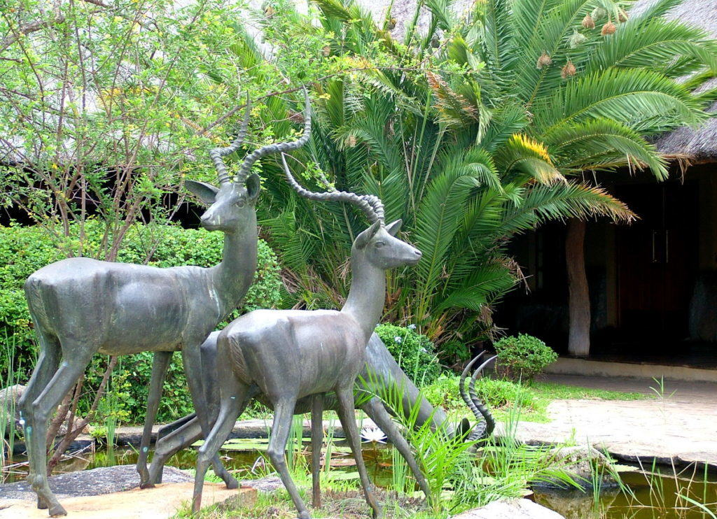 An imag of the gardens at the visitor centre at Skukuza Rest Camp in Kruger National Park, South Africa.