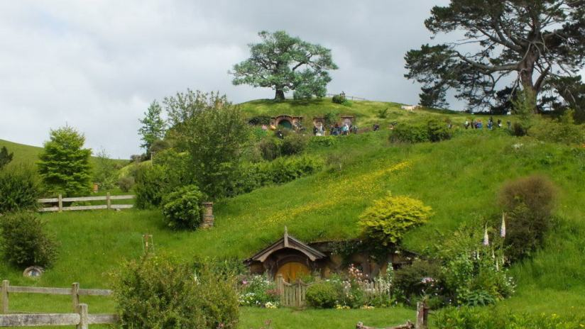 An image of Bilbo Baggins home on Bag End at Hobbiton in New Zealand. Photography by Frame To Frame - Bob and Jean.