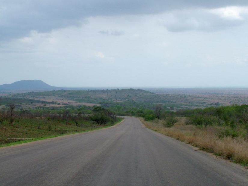 paved-roadway-across-savanna-near-nkumbe-lookout-in-kruger-national-park-south-africa