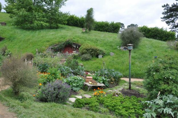 An image of sackville baggins garden growing at Hobbiton in New Zealand. Photography by Frame To Frame - Bob and Jean.