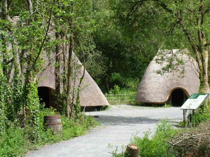 thatched huts at Irish National Heritage Park, Ireland