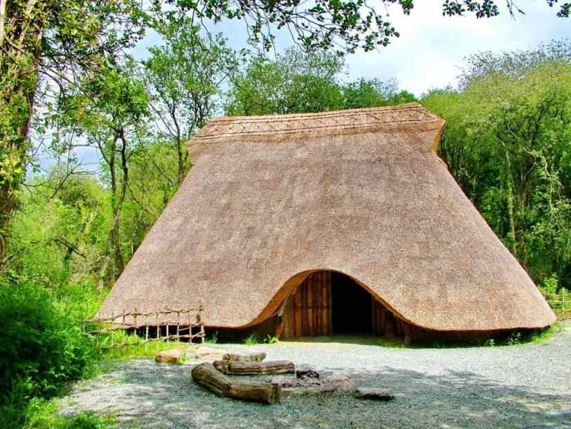 thatched hut at Irish National Heritage Park in Ireland