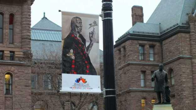 an image of a commemorative flag at Ontario's Legislative Building in Toronto, Ontario, Canada