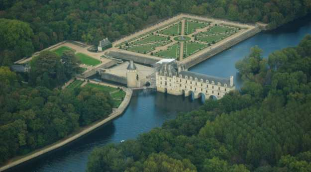 An aerial view of Chateau de Chenonceau in Centre Val de Loire in France.