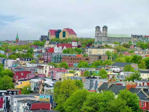 an image of a colourful city scene in St. John's, Newfoundland, Canada