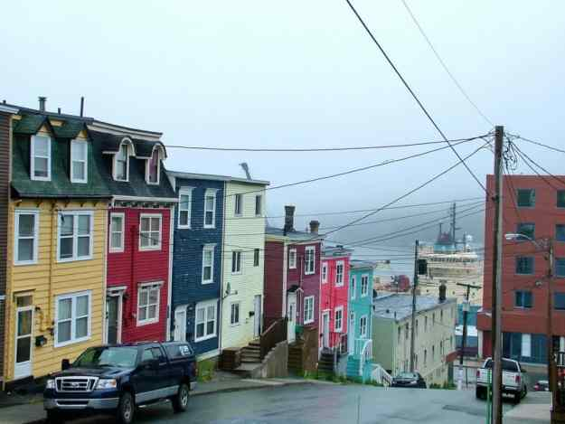 an image of a row of colourful homes near St. John's harbour, Newfoundland, Canada
