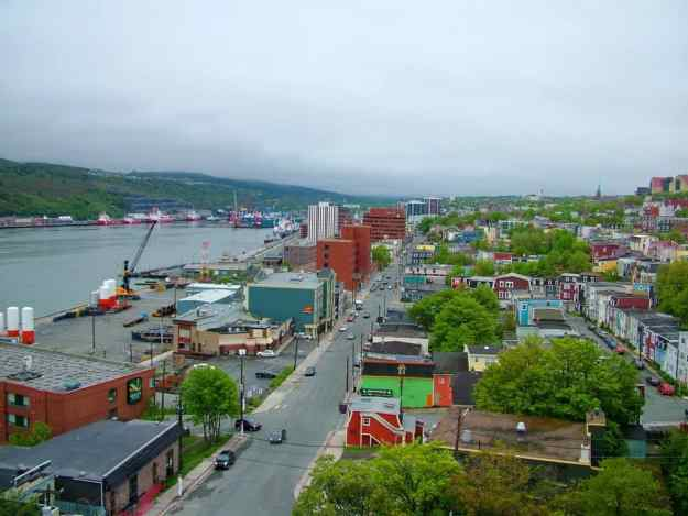 an image of the harbour and Water Street in St. John's, Newfoundland, Canada