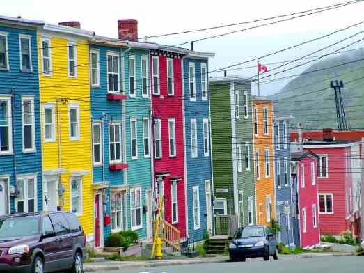 Colourful row of houses in St
