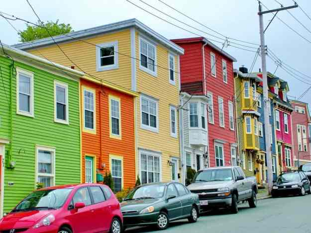 an image of a row of colourful houses in St. John's, Newfoundland, Canada