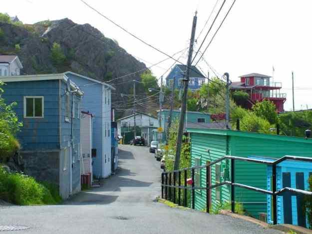 an image of a narrow street in St. John's, Newfoundland, Canada