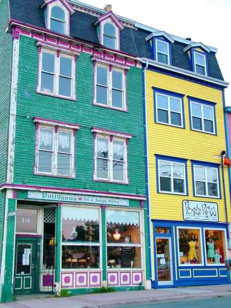 an image of vibrant business facades in St. John's, Newfoundland, Canada