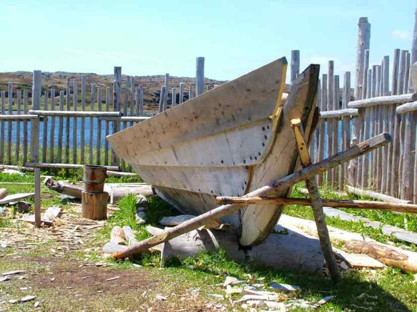a viking-style boat under construction at l'anse aux meadows, newfoundland, canada