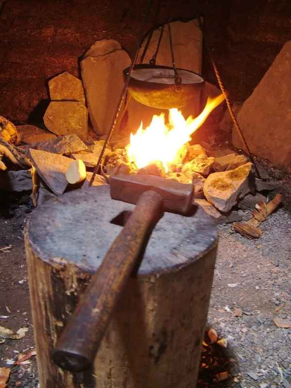 open hearth in the smithy structure at l'anse aux meadows, newfoundland, canada