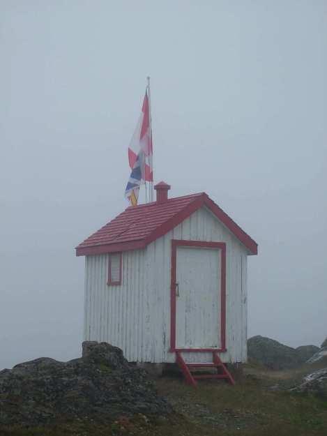 a storage shed at quirpon lighthouse inn, quirpon island, newfoundland, canada