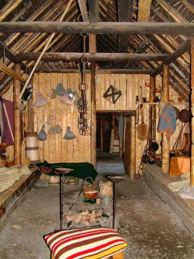 interior of a re-created longhouse at l'anse aux meadows, newfoundland, canada