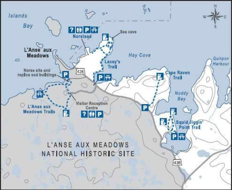 map of l'anse aux meadows, newfoundland, canada