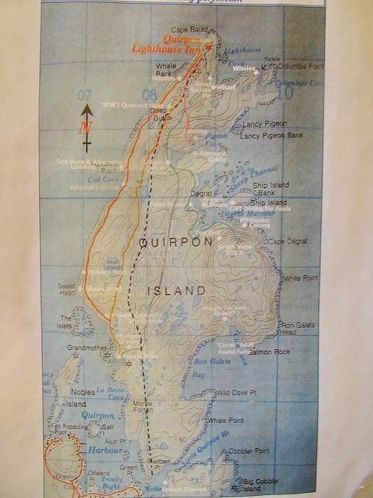 map of quirpon island, newfoundland, canada