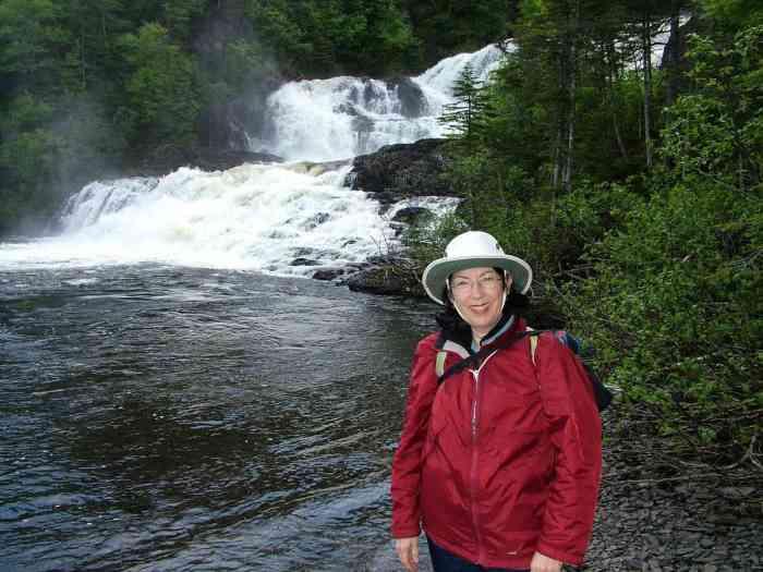 jean at baker's brook falls in gros morne national park, newfoundland